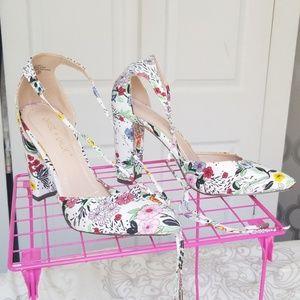 Flower printed block heels